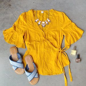 Old Navy Yellow Flutter Sleeve Linen Wrap Top S